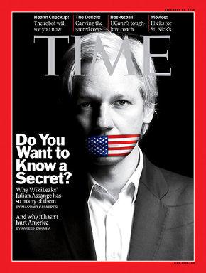Асандж на корицата на новия брой на сп. Time